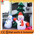 Wholesale cheap price customized mini inflatable christmas decorations , two inflatable snowman with tree
