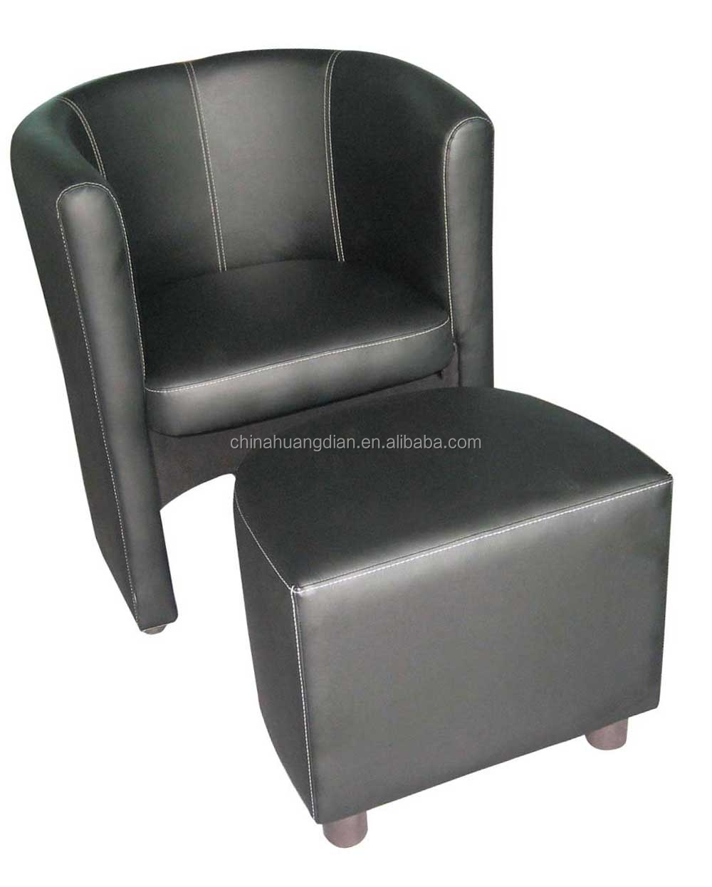 custom round lounge chair with black leather HDL1672