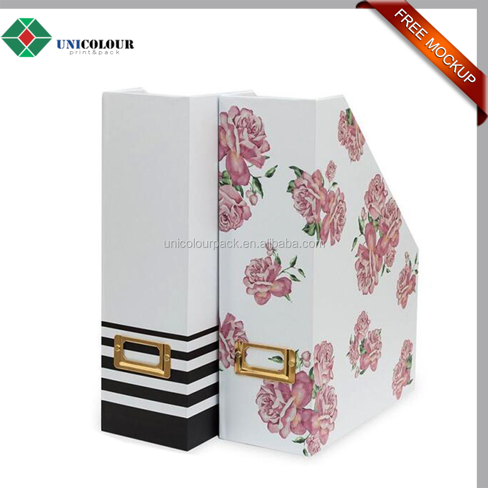 Custom folding office A4 paper file holder/document storage box without lid for file