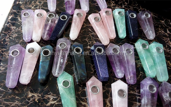 Natural amethyst quartz crystal smoking pipes,gemstone carved smoking pipes