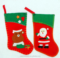 OEM Wholesale Non woven Fabric Wall Hanging Red Felt Santa Claus Christmas Stocking with Santa Claus and Bear Decoration