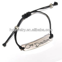 HY Jewelry wholesale one direction bracelet in black wax cord