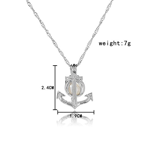 HENGSHENG Arrow Locket Cage Jewelry Set Pearl Oyster Pendant with 1 PC Real Oval Pearl in Charm