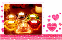 3.5*7.3cm Diamond Machinemade Color Sprayed Glass Candle Holder with Diamond Shaped
