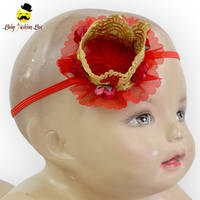Red Lace Crown 1 Year Baby Happy Birthday Cap Girls Flower Crown Headband