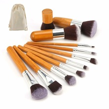 New 11 pieces set bamboo handle cosmetic makeup brush
