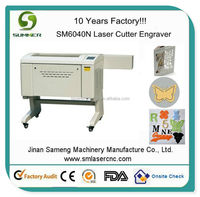 SM6040N 60W 80W with stepper motor honey comb worktable coconut shell laser cutting and engraving machine