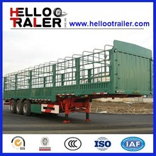 3 Axle Fence Stake Trailer,Box Cargo Animal Transport Semi Truck Trailer