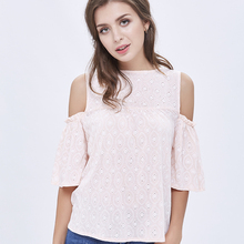 trend 2017 pink Women off shoulder top Embroidered blouse