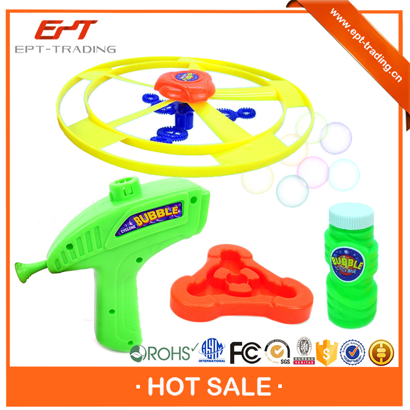 Wholesale kids interesting soap bubble gun toy with frisbee