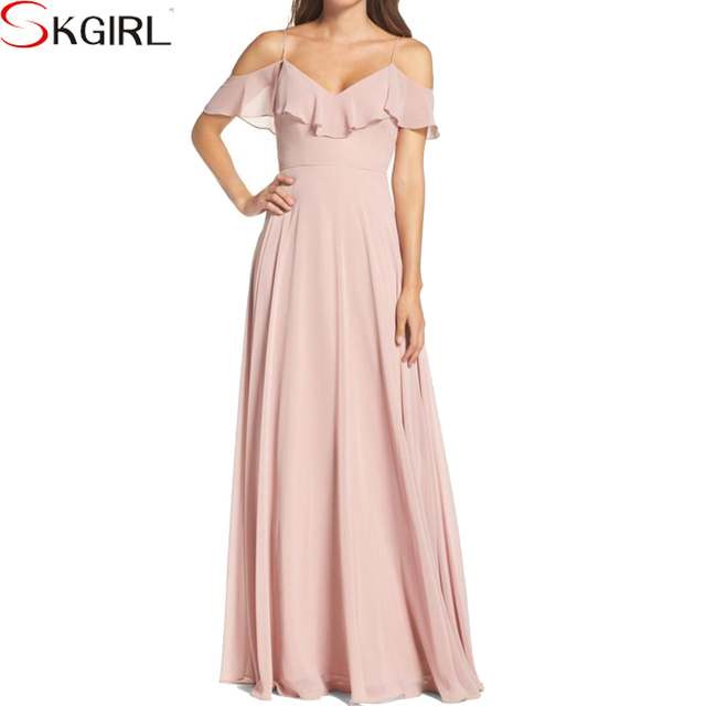 2018 High quality off shoulder pink wedding party evening chiffon bridemaids long dresses for women