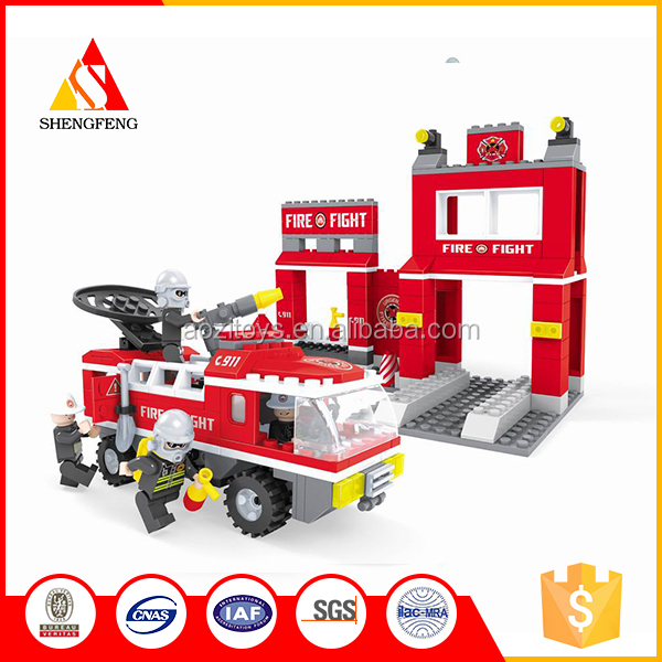 Firehouse mini fire truck building block toy