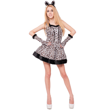 adult women sexy white cheetah leopard animal costumes for Easter party fancy dress