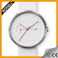 Custom hot selling high quality Minimalist style men's brushed silver/black stone watch