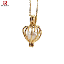 China Factory Wholesale Small 3D Alloy Gold Plated Pearl Cage Locket Pendant for Necklace