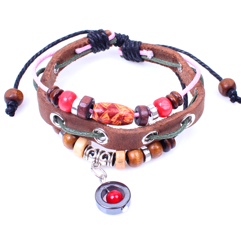 Popular Jewelry Cheap Wooden Beads Alloy <strong>Accessories</strong> Genuine Cowhide Leather Bracelet