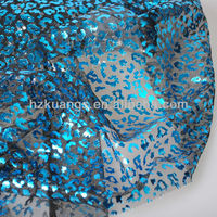 Polyester Mesh Silver Foil Print Fabric For party cloth