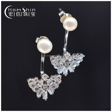 Latest design 925 silver earring with cz and pearl ,elegant design earring for ladies