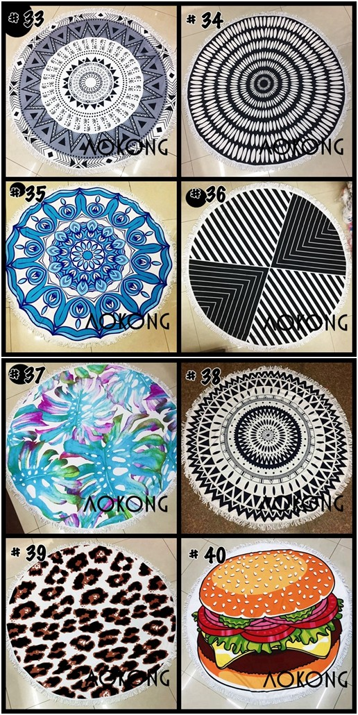 Hot 69 colors mandala blanket with white hippie fringes yoga mat boho round beach towel