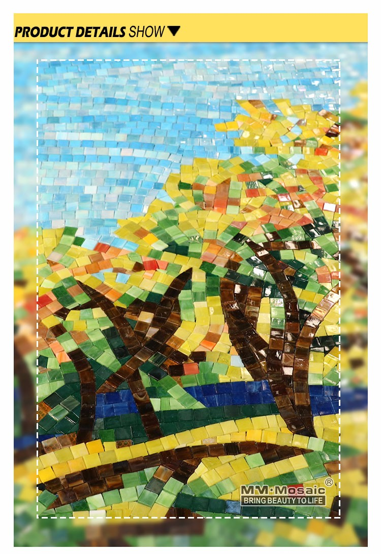 Hand Cutting Simple Scenery Wall Murals Art Glass Mosaic Tile ...
