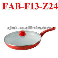 Red Aluminum White Ceramic Induction Frypan With Lid