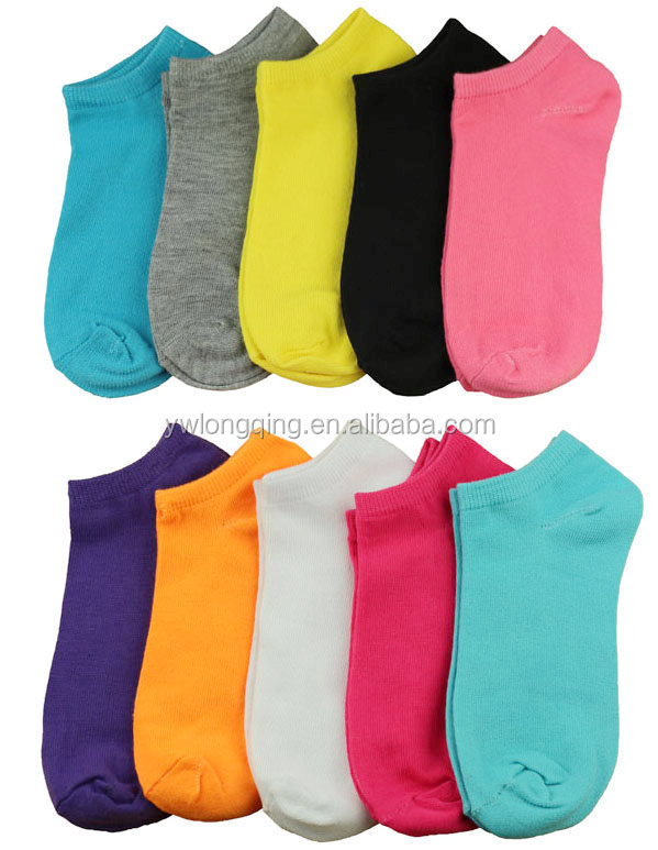5 or 10 pack Lady fashion wholesale plain color cotton ankle socks low cut socks