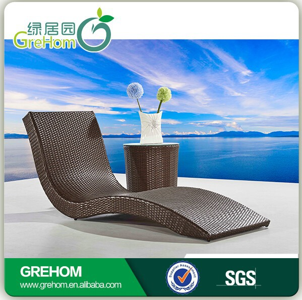 Outdoor plastic rattan pool chaise lounge beach chair