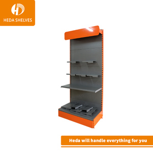 Metal floor stand pegboard display rack for supermarket hardware with hooks