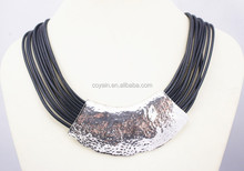 Special design Black leather chain Zinc Alloy choker necklace with metal charm