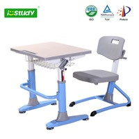 Wood and Metal Hight Adjustable School Desk and Chair