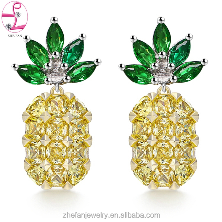 2017 new style mini pineapple earrings hollow out Pineapple shape jewelry