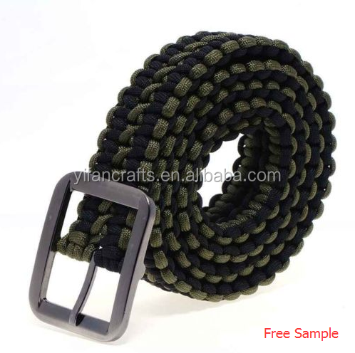 New 1pcs Survival 550 Paracord Cord Belt Hand-made Solid Steel Belt green+ black