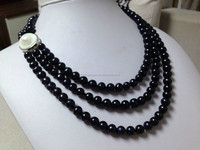 10-11mm IMITATION freshwater natural black pearls necklace