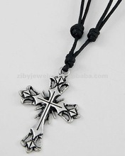 Burnished Silver Tone Metal / Black Cord / Lead Compliant / Cross Pendant / Adjustable Necklace
