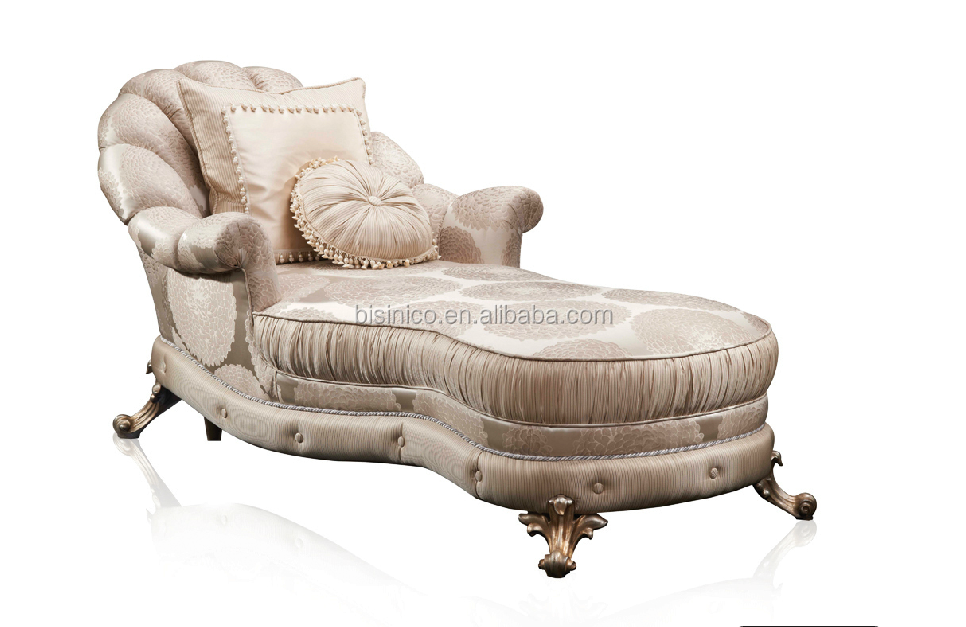 Bisini antique design fabric chaise lounge luxury for Antique reproduction chaise lounge