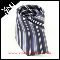 Cheap Polyester Navy Thin Stripes Factory 100% Poly Necktie