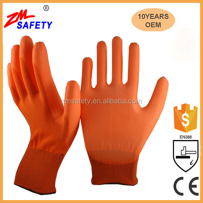 General Purpose Work Safety Orange PU Hand Gloves with Seamless Knitted Shell