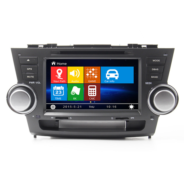 8 inch Car DVD GPS Navigation stereo for Toyota Highlander 2008 2009 2010 2011 2012 DVD with bluetooth radio RDS free map