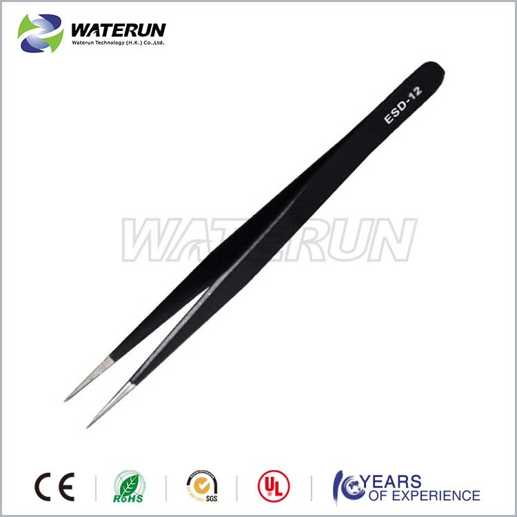 ESD-14 black anti static professional point metal tweezers