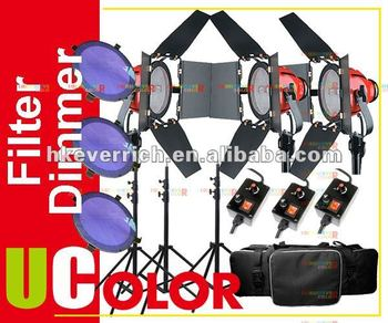 3 x 800W RED HEAD Video Continuous Light with Dimmer Contorl + Dichroic Filter + Carrying Case Kit