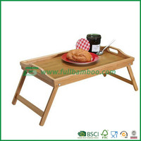 Bed tray table with folding legs in bamboo