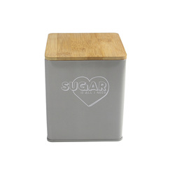 Wholesale colored food grade tin square coffee sugar tea metal box with wooden lid