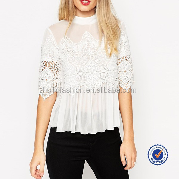 blouses 2016 new designs elegant lace crochet ladies blouse and tops high neck chiffon hem women blouse