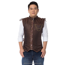 Brown Striped Cotton Stand Collar Sleeveless steel bone corset slimming waist Steampunk Jacket Men Gothic Clothing Coats