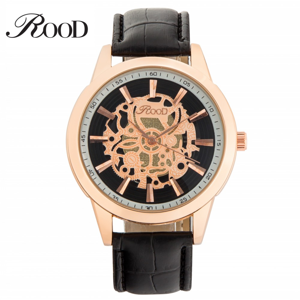 Men Rose Gold Black ROOD Brand Skeleton Watches Fashion Men Casual Hollow Leather Quartz Clock Relogio Masculino