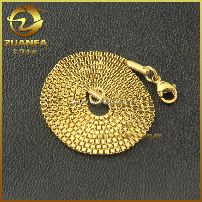 wholesale mens jewelry 18k gold hip hop stainless steel box chain