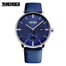 SKMEI men's dress watch genuine leather japan movement wristwatches clock with large dial