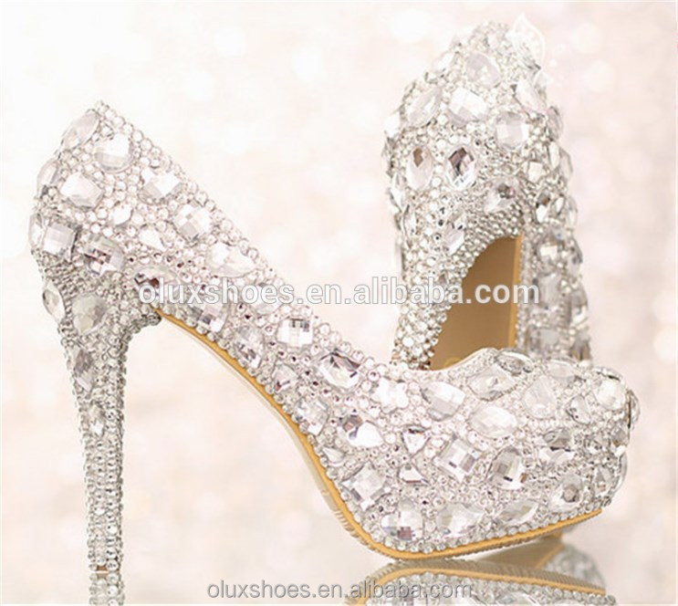 OW15 Silver Crystal Ladies High Heel Bridal Wedding Shoes