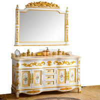Classic Royal Italian Style Rococo Painted Solid Wood Double Sink Bathroom Vanity with Marble Countertop BF12-08244a