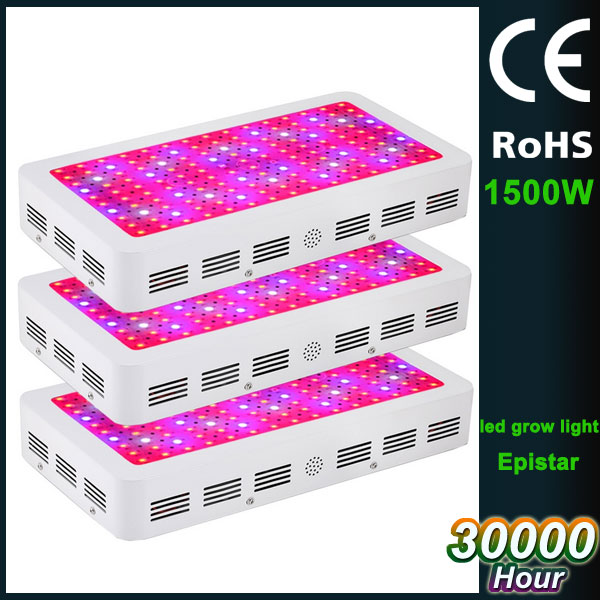 3 cooling fan 120 degree double chip 50000lm full spectrum 1500W plant grow led light